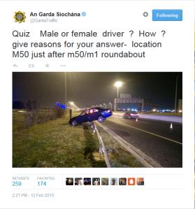 garda  traffic sexist tweet
